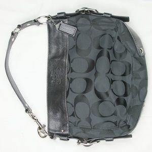 Coach purse black  Light blue inside